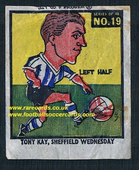 1960 Webcosa Tony Kay Sheffield Wednesday  original wax paper gum insert
